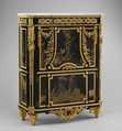 Drop-front secretary (Secrétaire en armoire), Jean Henri Riesener (French, Gladbeck, North Rhine-Westphalia 1734–1806 Paris), Oak veneered with ebony and 17th-century Japanese lacquer; interiors veneered with tulipwood, amaranth, holly, and ebonized holly; gilt-bronze mounts; marble top; velvet (not original), French, Paris