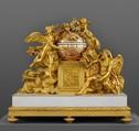Mantel clock, Clockmaker: Jean-Baptiste Lepaute (French, 1727–1802), Gilt bronze, marble, enamel, French, Paris