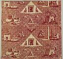 Les monuments d'Égypte, Oberkampf Manufactory (French, active 1760–1843), Roller-printed cotton, French, Jouy-en-Josas