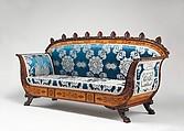 Sofa (part of a set), Designed by Filippo Pelagio Palagi (Italian, Bologna 1775–1860 Turin), Mahogany veneered with maplewood and mahogany, covered with modern silk brocade, Italian, Piedmont
