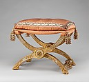 Folding stool (pliant) (one of a pair), Jean-Baptiste-Claude Sené (1748–1803), Carved and painted beechwood, covered in pink silk, French