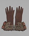 Pair of gloves, Leather, satin worked with silk and metal thread, spangles; long-and-short, satin, detached buttonhole, couching stitches; metal bobbin lace; silk and metal ribbon, British