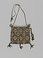 Purse, Canvas worked with silk and metal thread; Gobelin, tent, knots and plaited braid stitches, silk and metal thread cord and tassels, British