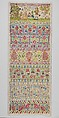 Sampler, Anna Buckett, Linen worked with silk thread; long-and-short, split, stem, back, tent, cross, and satin stiches, British