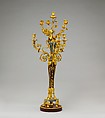 Pair of seven-light candelabra (candélabres or girandoles), Gilt bronze, griotte marble, bardiglio marble, French