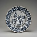 Dish with stylized flowers, Doccia Porcelain Manufactory (Italian, 1737–1896), Hard-paste porcelain painted with cobalt blue under transparent glaze, Italian, Florence