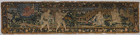 The Expulsion and Adam and Eve after the Fall (one of a set of three), Canvas worked with wool, silk, and metal thread; chain, split, tent, and straight stitches; applique of woven silk textiles; metal thread braid, Scottish or British