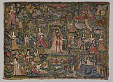 Panel with Biblical vignettes, Canvas worked with wool, silk, and metal thread, glass beads, mica, silk satin; long-and-short, stem, split, chain, knots, cross, and couching stitches, British