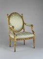 Armchair (Fauteuil à la reine), attributed to Georges Jacob (French, Cheny 1739–1814 Paris), Carved and gilded beech; silk upholstery (not original), French, Paris