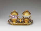 Ensemble for chocolate, Vienna, Hard-paste porcelain, gold, glass, Austrian, Vienna