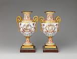 Pair of vases, Sèvres Manufactory (French, 1740–present), Hard-paste porcelain; gilt bronze, marble, French, Sèvres