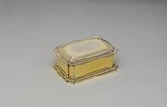 Toilet box (one of a pair) (part of a set), John Parker (British, active 1759–77), Silver gilt, British, London