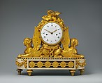 Mantel clock (pendule de cheminée), Designed by François Joseph Belanger (French, Paris 1744–1818 Paris), Gilt bronze, marble, and painted metal; enamel dial; brass and steel movement, French, Paris