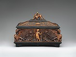 Jewelry casket, Pietro Giusti (Italian, 1822–1878), Carved walnut, ebony, lined with red velvet, Italian, Siena