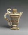 Ewer, Lead-glazed earthenware inlaid with slip, with molded ornament, French, Saint-Porchaire or Paris