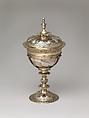Cup with cover, R W (British), Mother-of-pearl, with gilded silver mounts, British, London