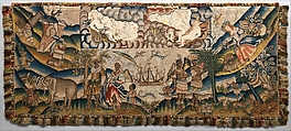 Panel from a table carpet showing the Four Continents, the Seasons, and Four Planets, Linen and silk satin, embroidered with silk and wool, passementerie of silk thread, silk-wrapped parchment, and metal, British