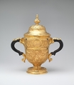 Two-handled cup with cover, William Gilchrist (Scottish, active 1736), Gold, ebony, Scottish, Edinburgh