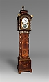 Longcase clock, Clockmaker: Hermann Achenbach (German, born 1730, active before 1759–92), Case: oak veneered with maple, burl woods, holly, and hornbeam (all partly stained), and other woods; mother-of-pearl; gilded bronze; and brass; Dial: partly gilded and partly silvered brass and enameled and painted copper; Movement: brass and steel, German, Neuwied am Rhein