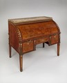 Rolltop desk, David Roentgen (German, Herrnhaag 1743–1807 Wiesbaden, master 1780), Oak, pine, walnut, cherry, tulipwood, and mahogany (later drawers), veneered with maple hornbeam (both partially stained), tulipwood, burl wood (stained), mahogany, holly, walnut, and other woods; gilt bronze, brass, steel, and iron; marble; partially tooled and gilded leather, German, Neuwied am Rhein
