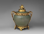 Potpourri bowl with cover, Stoneware; gilt-bronze mounts, Chinese with French mounts
