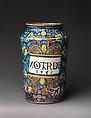 Storage jar (albarello) for mostarda, Maiolica (tin-glazed earthenware), Italian