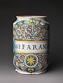 "Pharmacy jar (albarello), Probably workshop of Giacomo Mancini, ""El Frate"" (Italian, active ca. 1540–60), Maiolica (tin-glazed earthenware), Italian, Deruta"