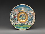 Wide-rimmed bowl depicting figures from Virgil's Aeneid, Workshop of Maestro Giorgio Andreoli (Italian (Gubbio), active first half of 16th century), Maiolica (tin-glazed earthenware), lustered, Italian, Gubbio