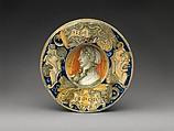 Wide-rimmed bowl with Beautiful Margarita, Maiolica (tin-glazed earthenware), probably Italian, Castel Durante