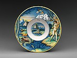 """Wide-rimmed bowl with Perseus and Andromeda, Probably """"In Castel Durante"""" Painter (Italian, active Castel Durante, first half of 16th century), Maiolica (tin-glazed earthenware), Italian, Urbino or Castel Durante"""