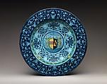 Dish with arms of the Strozzi and Ridolfi families, Workshop of Piero Bergantini (Italian, active Faenza, 1503–40) and, Maiolica (tin-glazed earthenware), Italian, Faenza