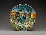 Dish or plate with Hannibal Encountering Roman Troops in Italy, Probably workshop of Guido Durantino (Italian, Urbino, active 1516–ca. 1576), Maiolica (tin-glazed earthenware), Italian, Urbino