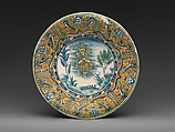 Plate with Saint Mary Magdalen, Maiolica (tin-glazed earthenware), Italian, Siena