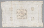 Table cover, Linen, embroidered net, Italian, possibly Sicily