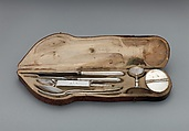 Traveling set in leather case, Silver, partly gilded, steel, tooled leather, Hungarian