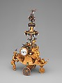 Automaton in the form of a chariot pushed by a Chinese attendant and set with a clock, James Cox (British, ca. 1723–1800), Case: gold with diamonds and paste jewels set in silver, pearls; Dial: while enamel; Movement: partly gilded brass and steel, wheel balance and cock of silver set with paste jewels, British, London