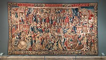 """Honor from the series """"The Honors"""", Design attributed to Bernard van Orley (Netherlandish, Brussels ca. 1492–1541/42 Brussels) and workshop, with collaborators, Wool and silk (wefts); wool (warps): 6-7 warp threads per cm., Flemish, probably Brussels"""