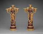 Pair of five-light candelabra, Luigi Valadier (Italian, Rome 1726–1785 Rome), Gilt bronze, porphyry, Italian, Rome