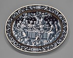 The Wedding Feast of Cupid and Psyche, Pierre Reymond (born 1513, working 1537, died after 1584), Painted enamel on copper, partly gilt, French, Limoges