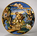 Plate with Hercules and Lichas and arms of the Pucci family, Fra Xanto Avelli da Rovigo (ca. 1486–1582), Maiolica (tin-glazed earthenware), Italian, Urbino
