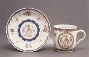 Cup and saucer, Hard-paste porcelain, Chinese, for British market