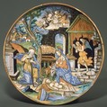 The Nativity, Fra Xanto Avelli da Rovigo (ca. 1486–1582), Maiolica (tin-glazed earthenware), lustered, Italian, Urbino with Gubbio luster