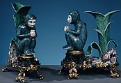 Monkey (one of a pair), Villeroy, Soft-paste porcelain, French, Villeroy