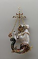 Pendant in the form of a siren, Baroque pearl with enameled gold mounts set with rubies, European