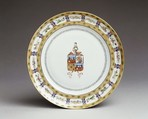 Plate, Hard-paste porcelain, Chinese, for Portuguese market