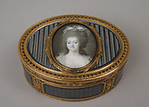 Snuffbox with portrait of a woman, Joseph Étienne Blerzy (French, active 1750–1806), Gold, enamel, ivory, glass, French, Paris