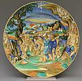 Dish, Follower of Fra Xanto Avelli da Rovigo (ca. 1486–1582), Maiolica (tin-glazed earthenware), Italian, Urbino