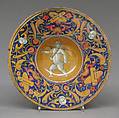 Dish (one of a pair), Style of Maestro Giorgio Andreoli (Italian (Gubbio), active first half of 16th century), Maiolica (tin-glazed earthenware), lustered, Italian, Gubbio
