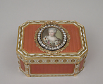 Snuffbox with portrait of Catherine II (1729–1796), Empress of Russia, Joseph Étienne Blerzy (French, active 1750–1806), Gold, enamel, diamonds, French, Paris