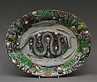 Platter, Manner of Bernard Palissy (French, Agen, Lot-et-Garonne 1510–1590 Paris), Lead-glazed earthenware, French